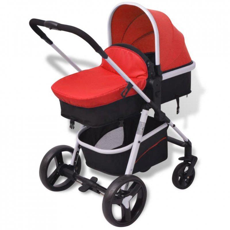 Wózek 3-w-1, aluminium, czerwono-czarny