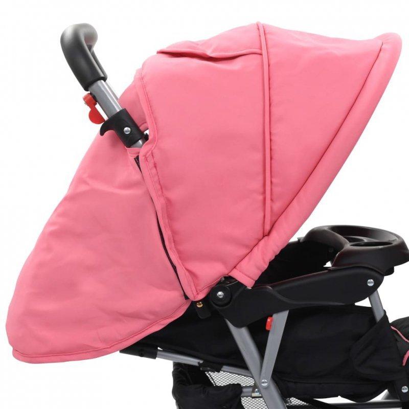 Wózek spacerowy, tandem dla bliźniaków, różowo-czarny, stal