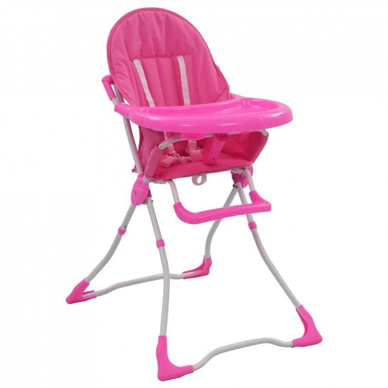 Krzesełko do karmienia dzieci, różowo-białe