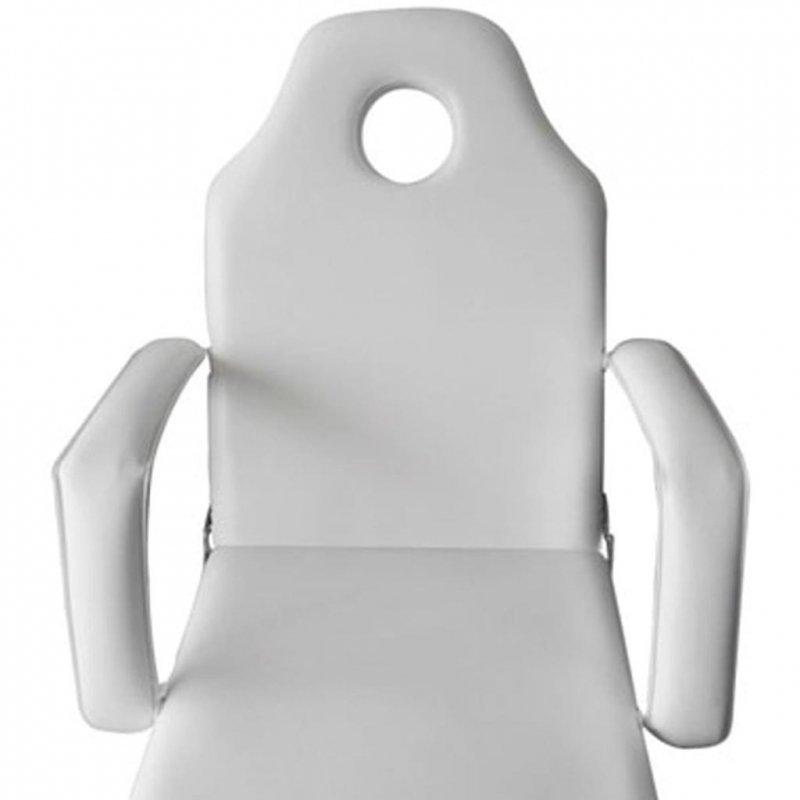 Przenośny fotel kosmetyczny, ekoskóra, 185 x 78 x 76 cm, biały