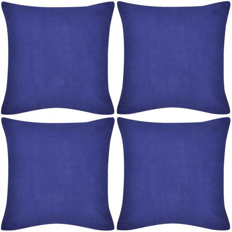 4 Niebieskie bawełniane poszewki na poduszki 80 x 80 cm