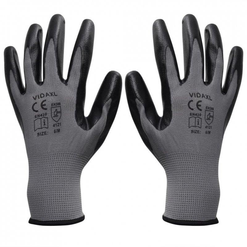 Rękawice robocze nitrylowe 24 pary szaro-czarne rozmiar 9/L