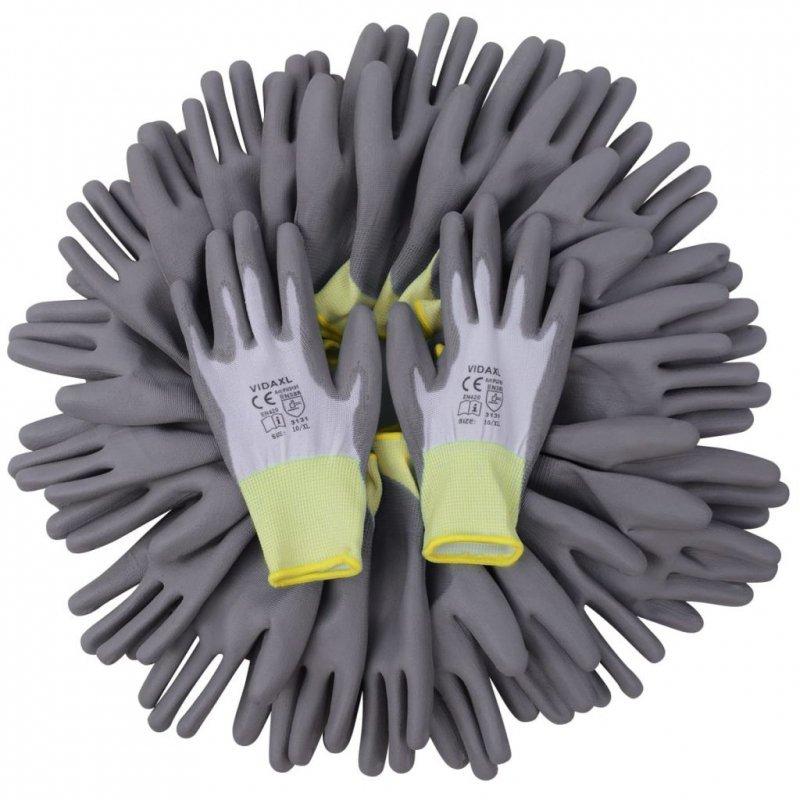 Rękawice robocze powlekane PU 24 pary biało-szare rozmiar 10/XL
