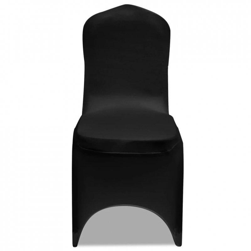 Elastyczne pokrowce na krzesło czarne 4 szt.