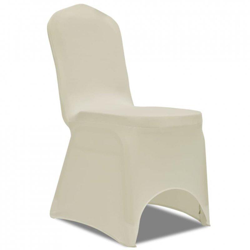 Elastyczne pokrowce na krzesło kremowe 4 szt.