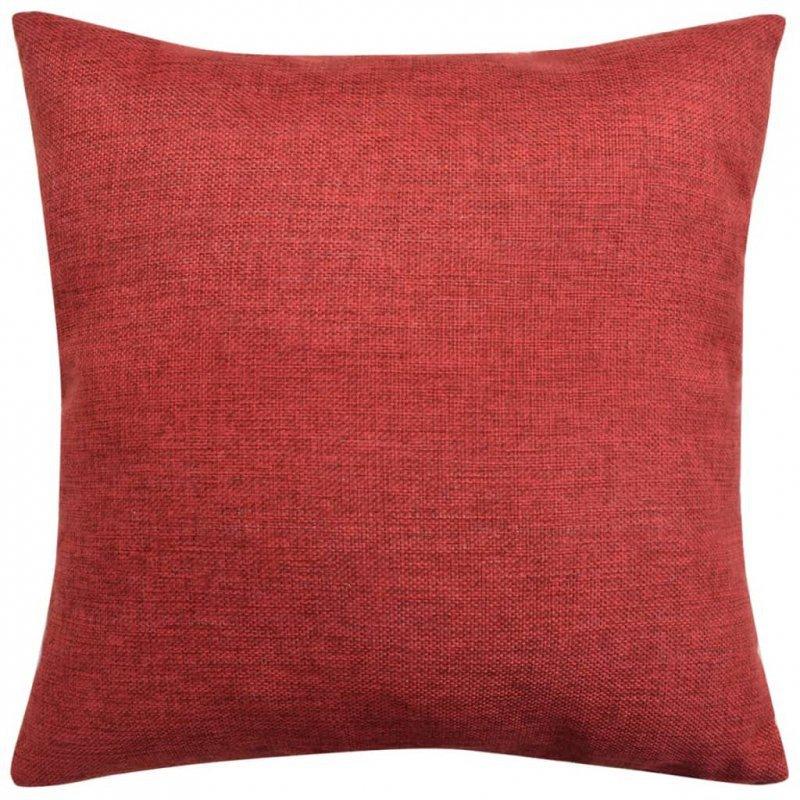 Poszewki na poduszki 4 szt. lniane, burgundowe 80x80 cm