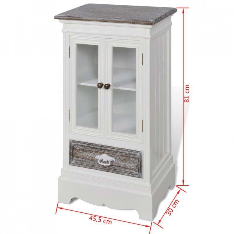 Szafka z 2 drzwiami i 1 szufladą, drewniana, biała