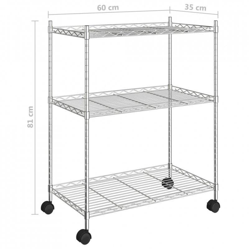 3-poziomowy regał na kółkach, 60x35x81 cm, chromowany, 150 kg