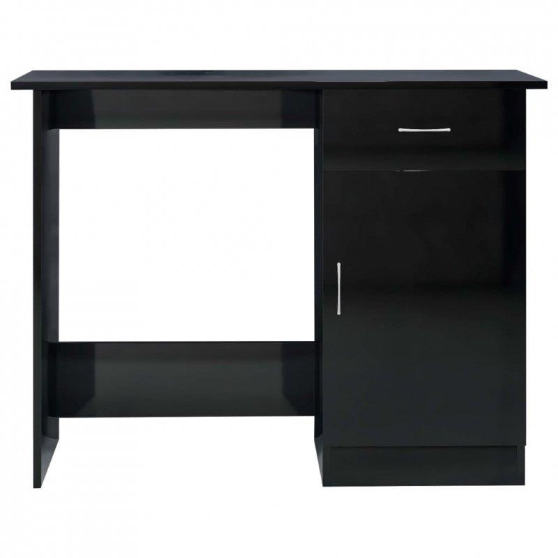 Biurko, wysoki połysk, czarne, 100x50x76 cm, płyta wiórowa