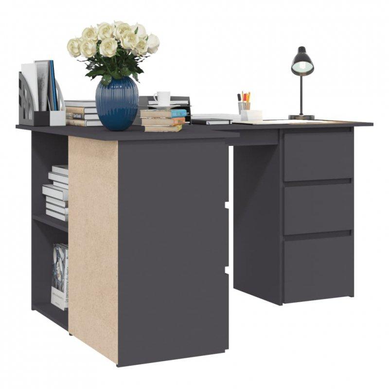 Biurko narożne, szare,145x100x76 cm, płyta wiórowa