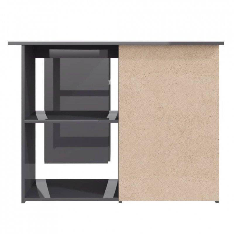 Biurko narożne, wysoki połysk, szare, 145x100x76 cm