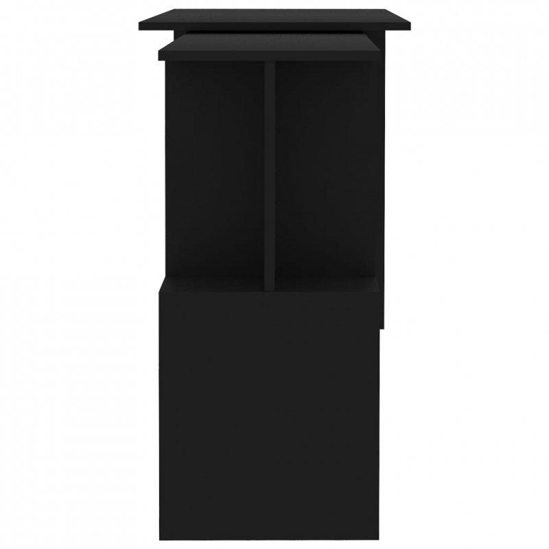 Biurko narożne, czarne, 200x50x76 cm, płyta wiórowa