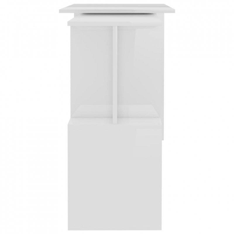 Biurko narożne, wysoki połysk, białe, 200x50x76 cm