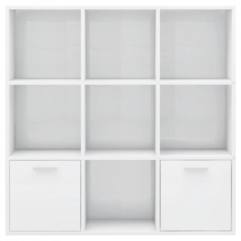 Regał, biały na wysoki połysk, 98x30x98 cm, płyta wiórowa