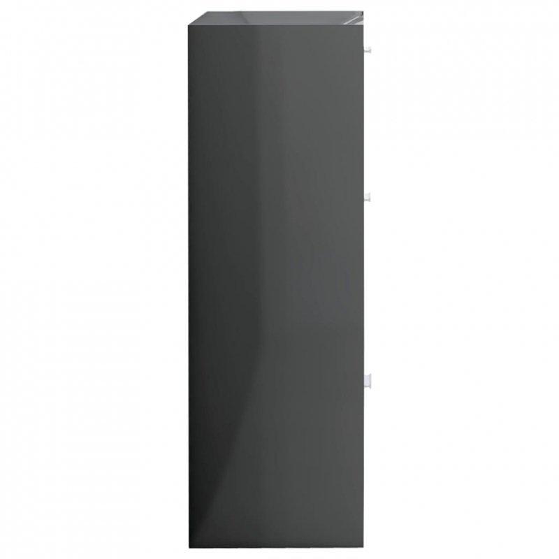 Szafka, szara na wysoki połysk, 60x29,5x90 cm, płyta wiórowa