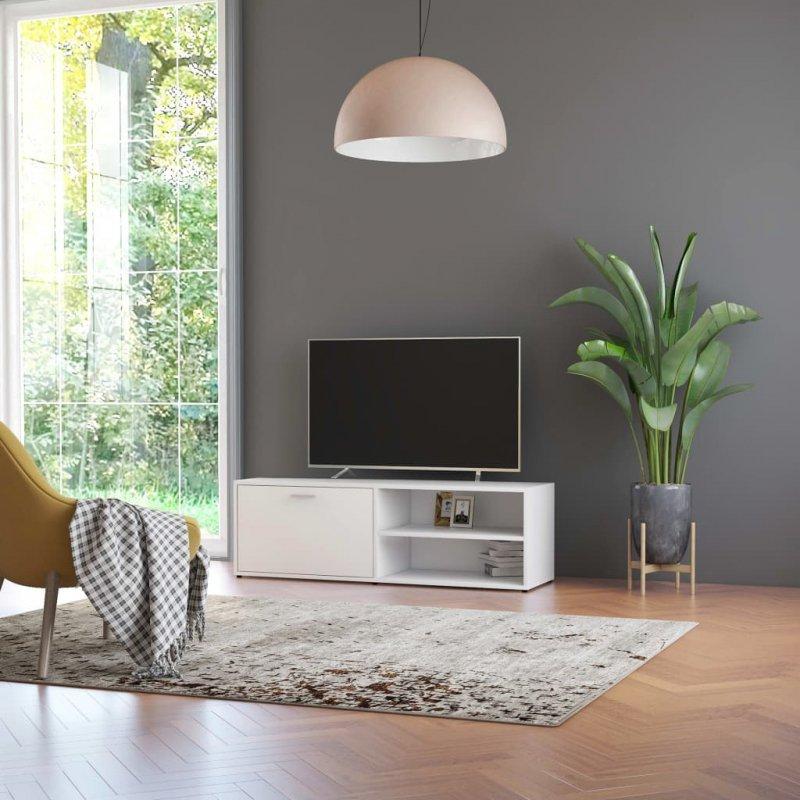 Szafka pod TV, biała, 120x34x37 cm, płyta wiórowa
