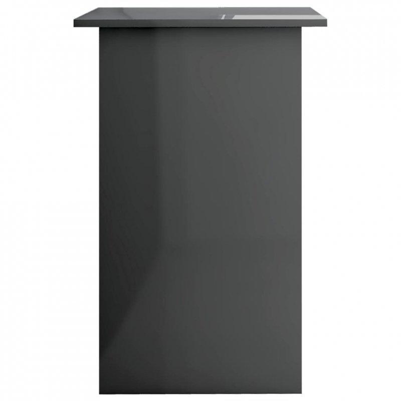Biurko, wysoki połysk, szare, 90x50x74 cm, płyta wiórowa