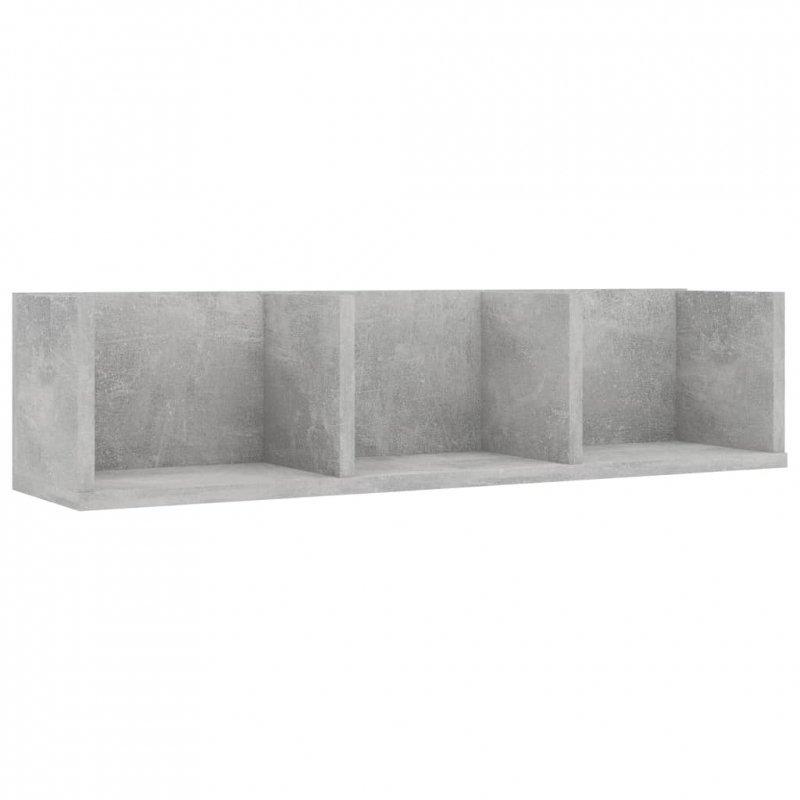 Półka ścienna na płyty CD, betonowa szarość, 75x18x18 cm