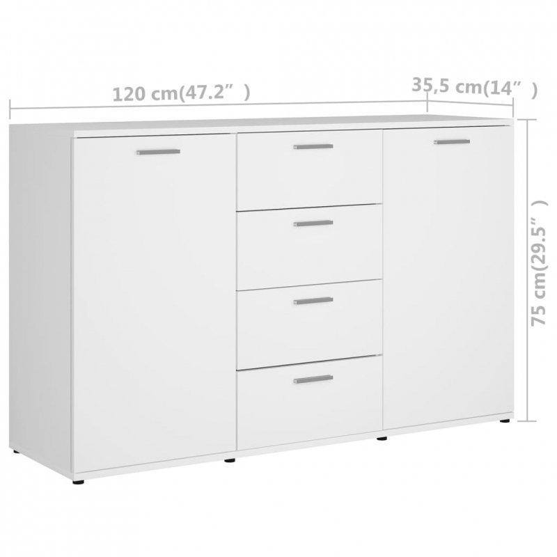 Komoda, biała, 120x35,5x75 cm, płyta wiórowa