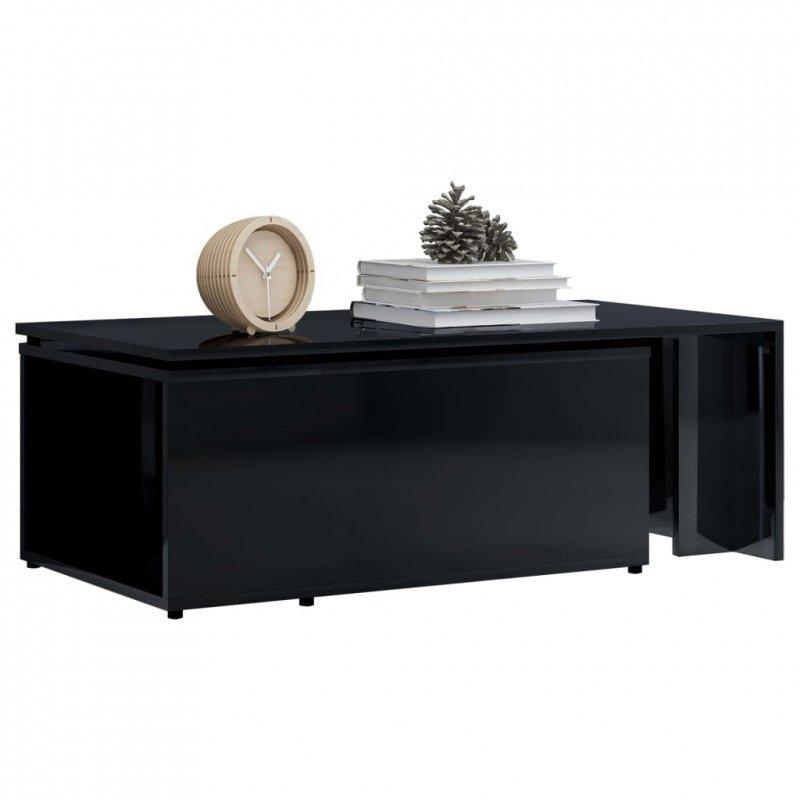 Stolik kawowy, wysoki połysk, czarny, 150x50x35 cm