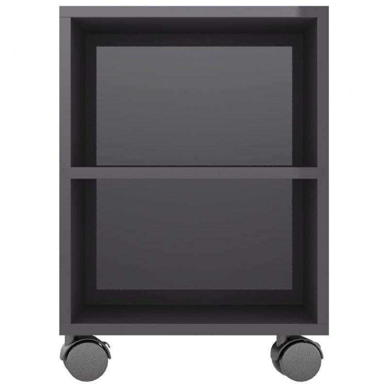 Szafka pod TV, wysoki połysk, szara, 120x35x43cm, płyta wiórowa