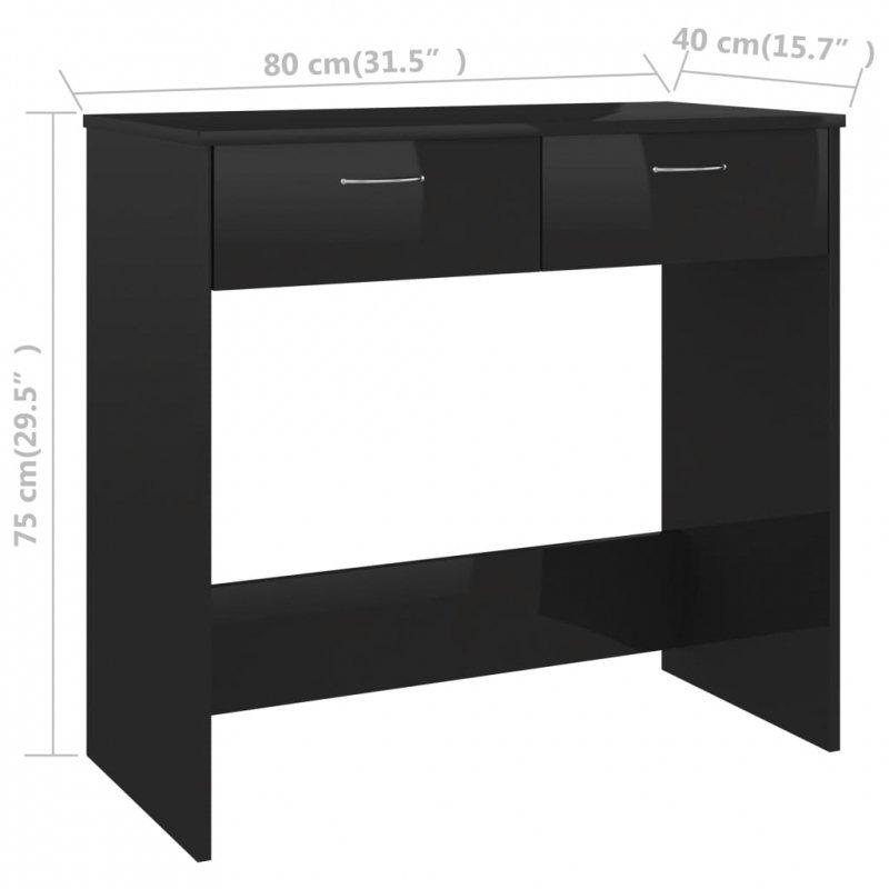 Biurko, czarne na wysoki połysk, 80x40x75 cm, płyta wiórowa