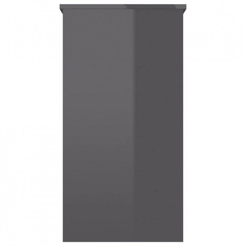 Biurko, szare na wysoki połysk, 80x40x75 cm, płyta wiórowa