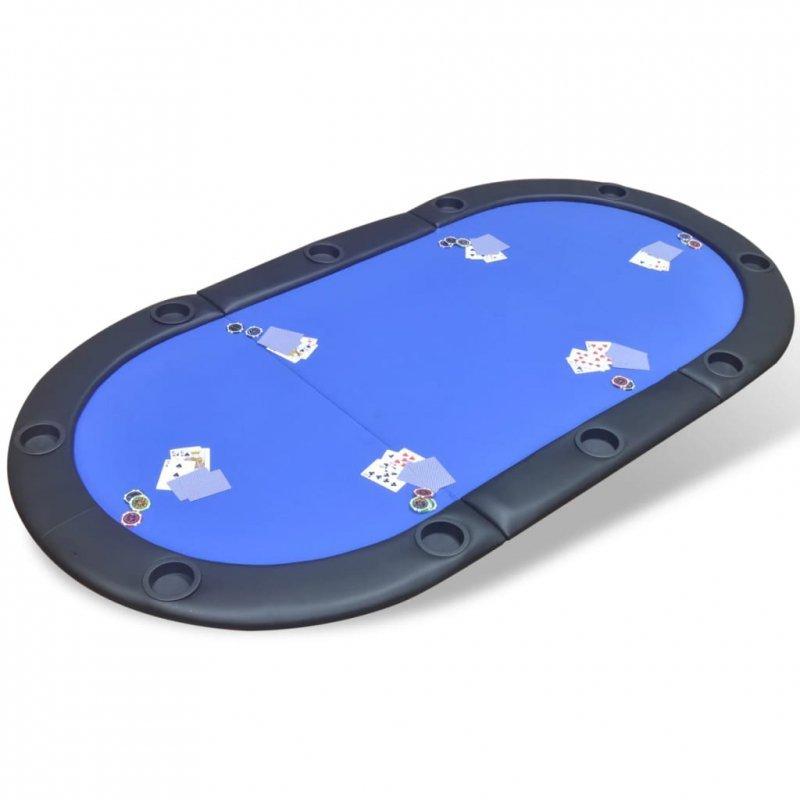 Składany blat do pokera dla 10 graczy, niebieski