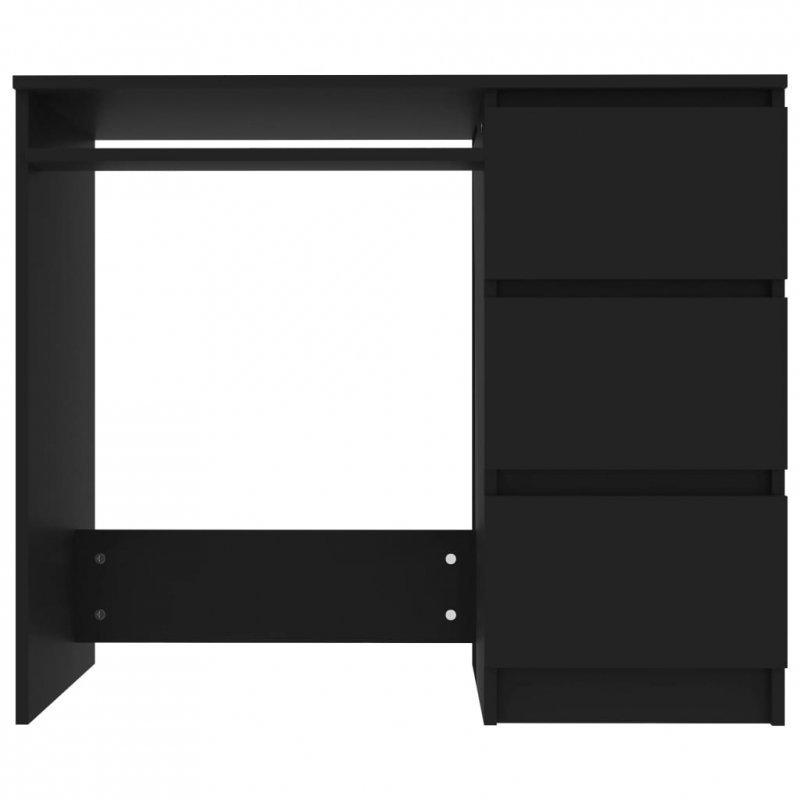 Biurko, czarne, 90x45x76 cm, płyta wiórowa