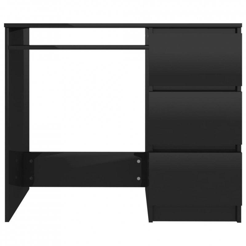 Biurko, wysoki połysk, czarne, 90x45x76 cm, płyta wiórowa
