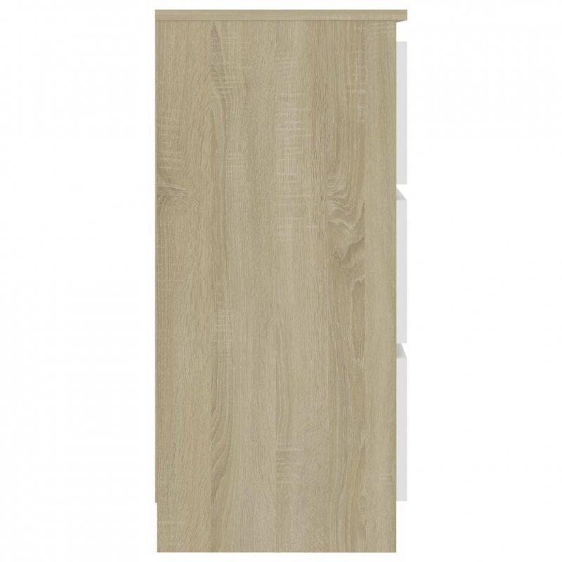 Komoda, biel i dąb sonoma, 60x35x76 cm, płyta wiórowa