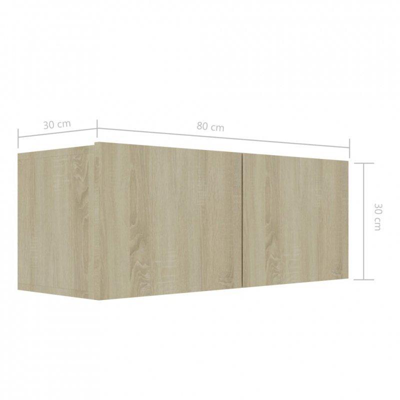 Szafka pod TV, dąb sonoma, 80x30x30 cm, płyta wiórowa