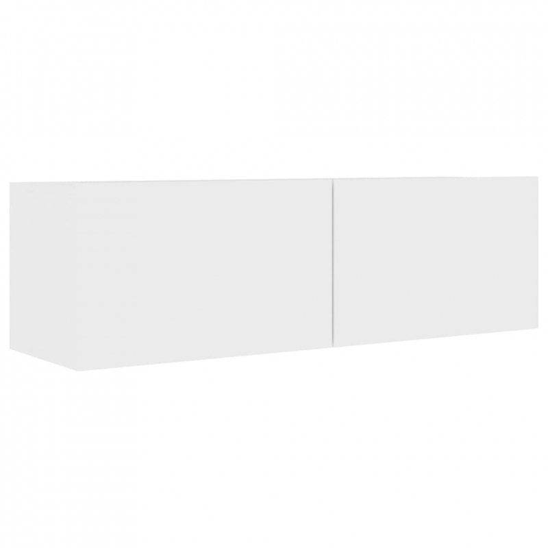 Szafka pod telewizor, biała, 100x30x30 cm, płyta wiórowa