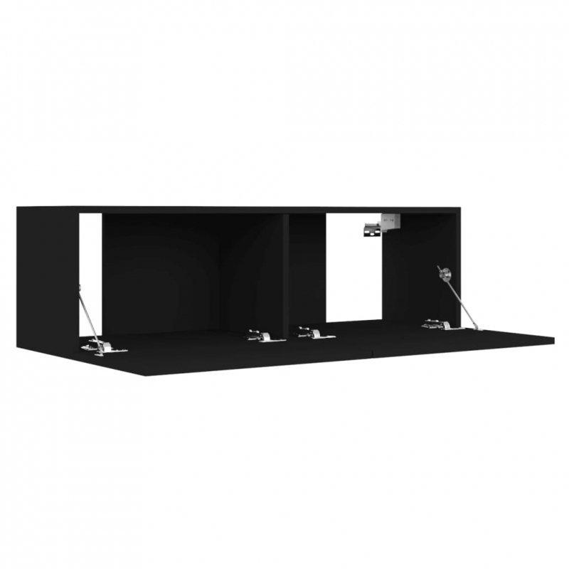 Szafka pod telewizor, czarna, 100x30x30 cm, płyta wiórowa