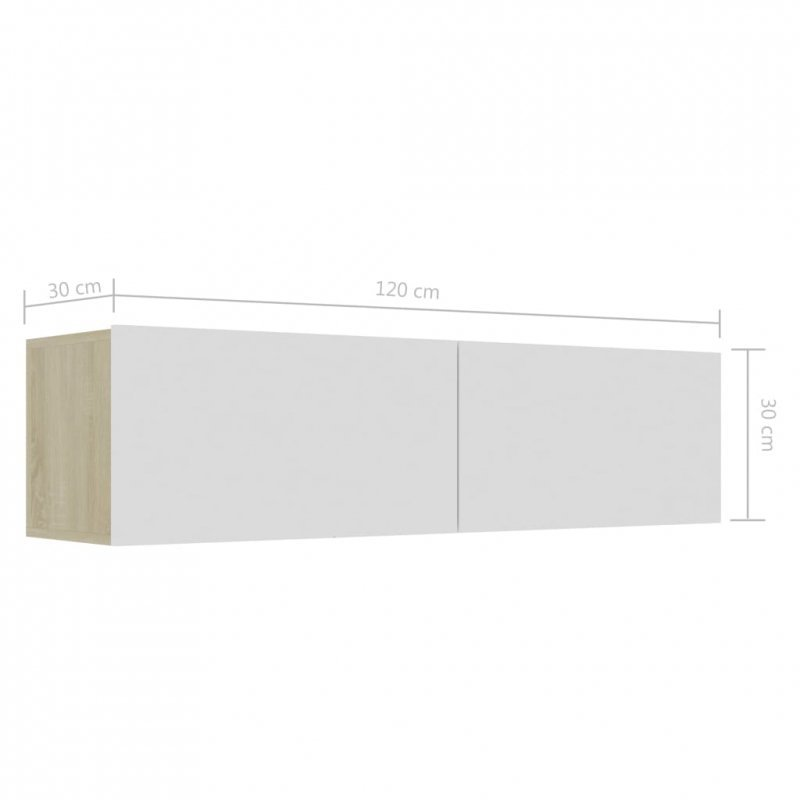 Szafka pod TV, biel i dąb sonoma, 120x30x30 cm, płyta wiórowa