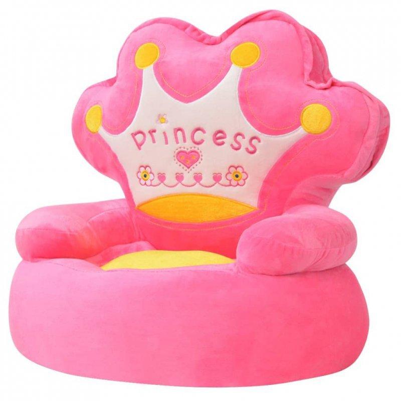 Fotel dla dzieci PRINCESS, pluszowy, różowy