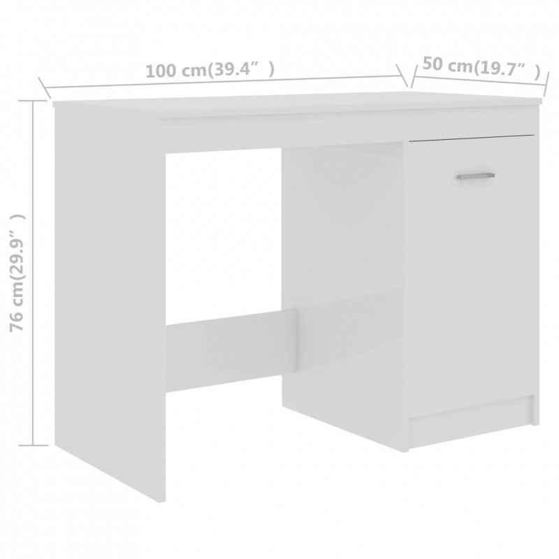 Biurko, wysoki połysk, białe, 100x50x76 cm, płyta wiórowa