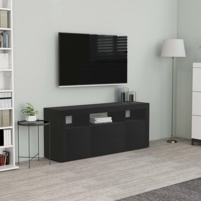 Szafka pod TV, czarna, 120x30x50 cm, płyta wiórowa