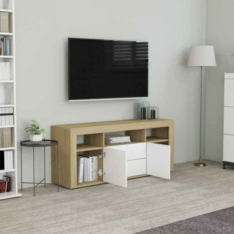 Szafka pod TV, biel i dąb sonoma, 120x30x50 cm, płyta wiórowa
