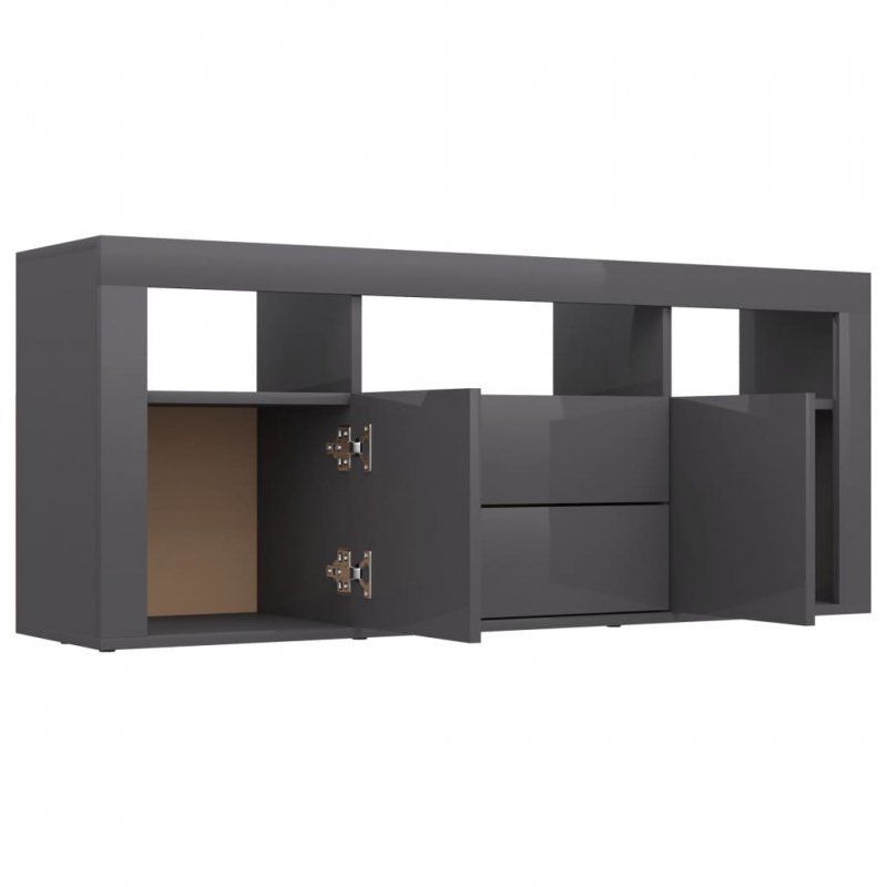 Szafka TV, szara, wysoki połysk, 120x30x50 cm, płyta wiórowa