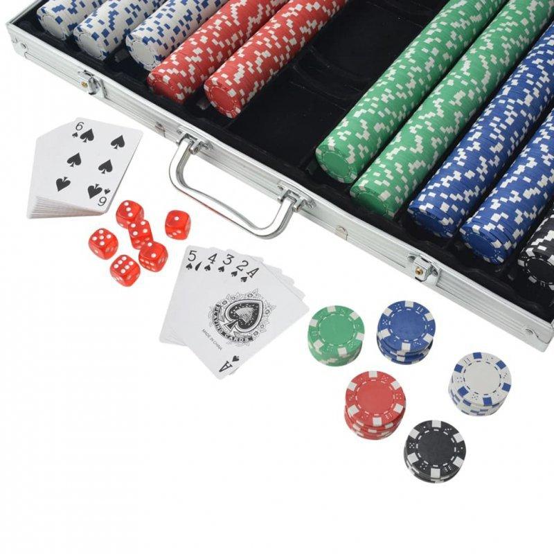 Zestaw do gry w pokera 1000 żetonów, aluminium