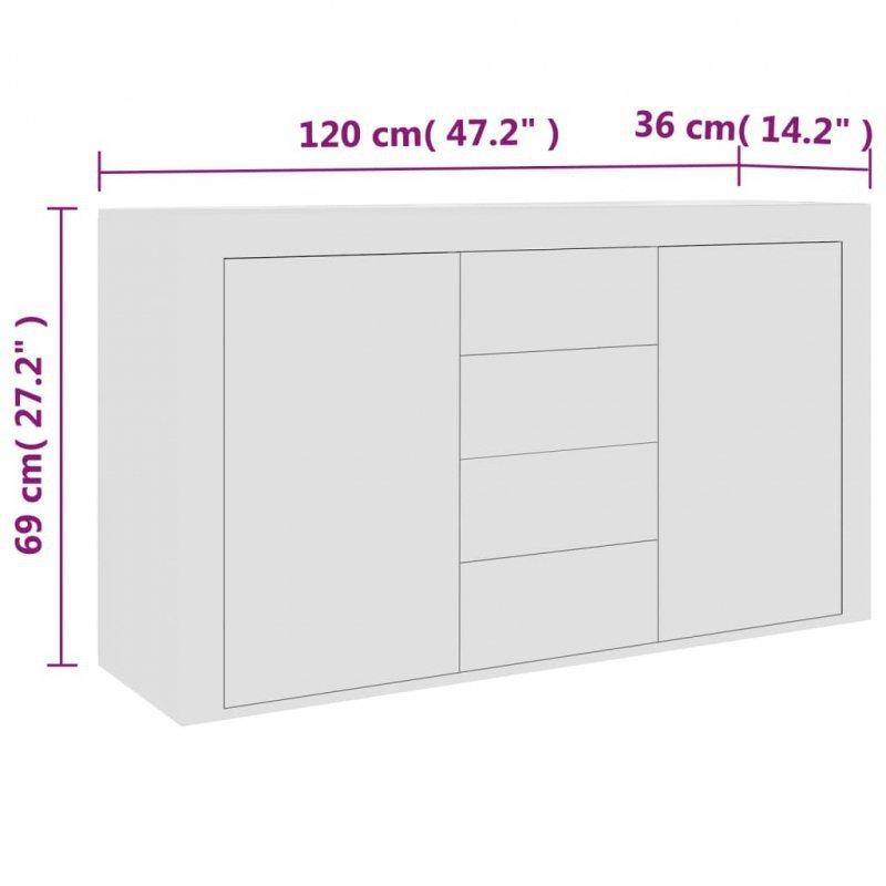 Komoda, biała, 120x36x69 cm, płyta wiórowa