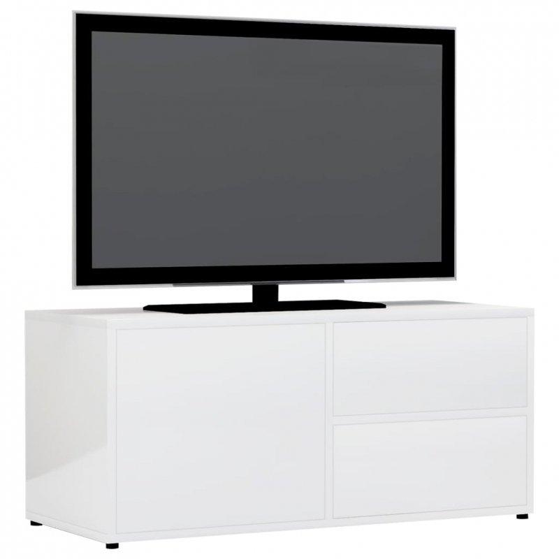 Szafka pod TV, biała, wysoki połysk, 80x34x36 cm, płyta wiórowa