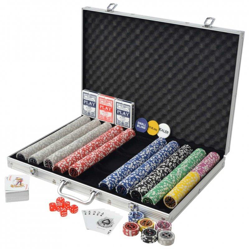 Zestaw do gry w pokera 1000 żetonów laserowych, aluminium