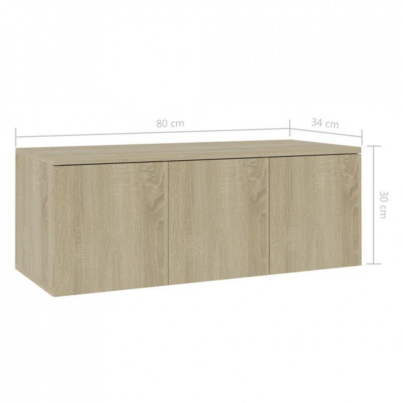Szafka pod TV, dąb sonoma, 80x34x30 cm, płyta wiórowa