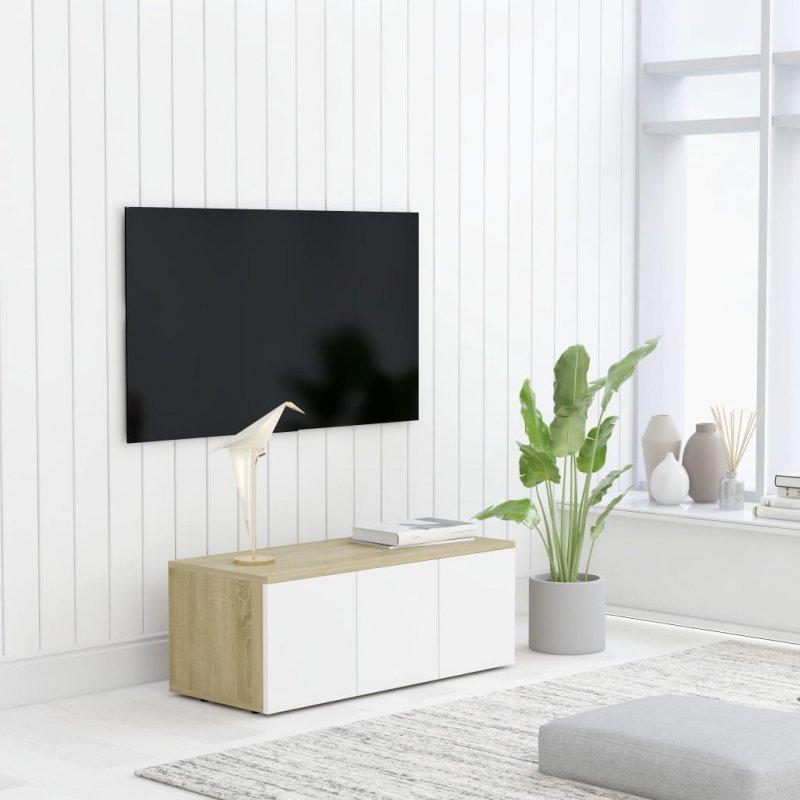Szafka pod TV, biel i dąb sonoma, 80x34x30 cm, płyta wiórowa