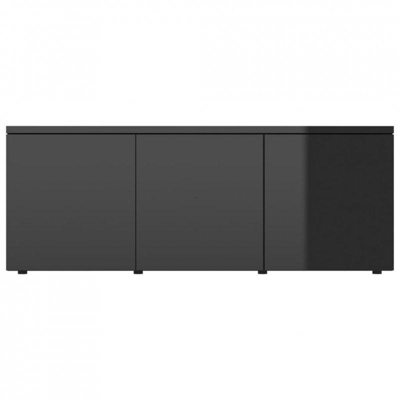 Szafka pod TV, czarna na wysoki połysk, 80x34x30 cm