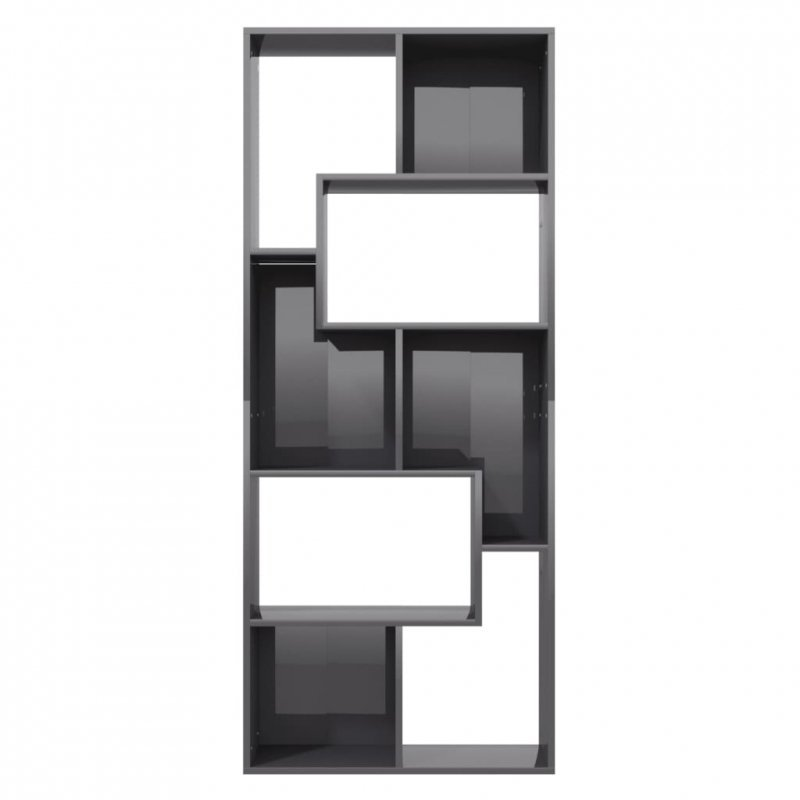 Regał, wysoki połysk, szary, 67x24x161 cm, płyta wiórowa