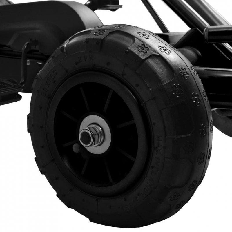 Gokart na pedały z oponami pneumatycznymi, czarny