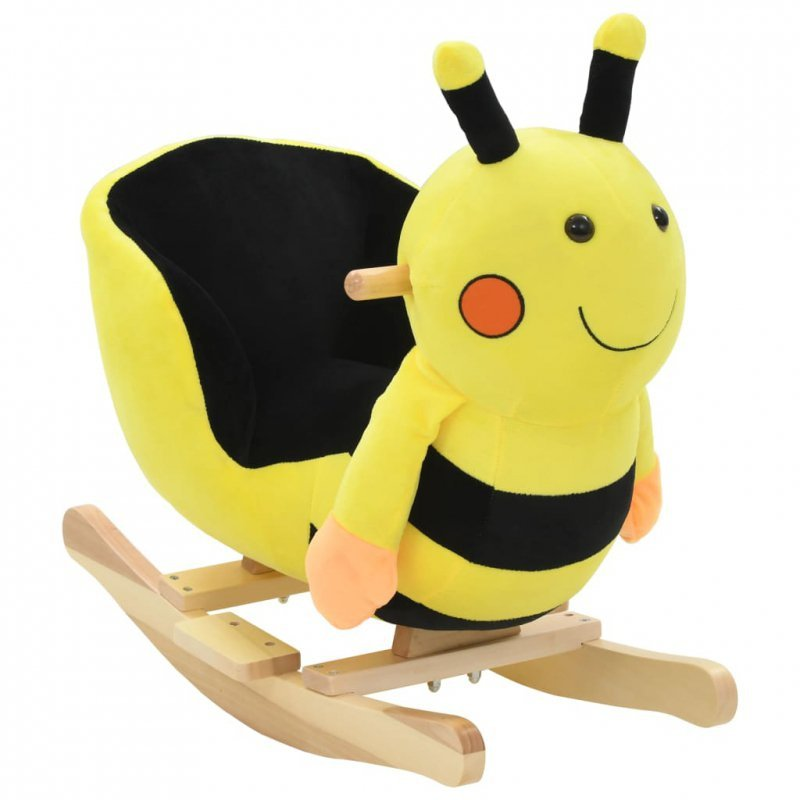 Pszczółka na biegunach z oparciem, pluszowa, 60x32x57 cm, żółta